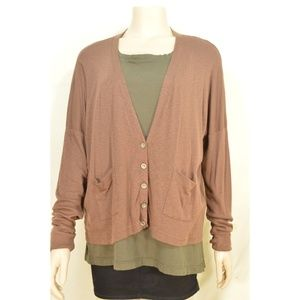 Michael Stars sweater OSFM brown cardigan dropped